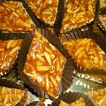 almond brittle cookies cut into diamonds