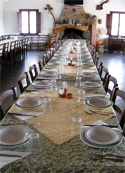 the long rable set in the dining room