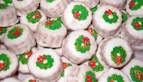 mini almond paste wreath cookies