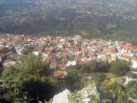 view of baunei from mountain in ogliastra sardinia