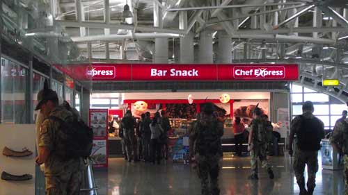 snack bar in departure lounge of cagliari airport