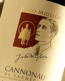 italian wine label of the josto miglior cannonau
