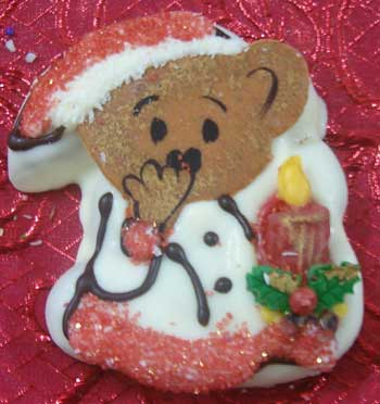 christmas teddy with candle cut out cookie