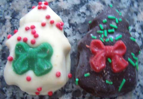 mini walnut christmas tree cookies