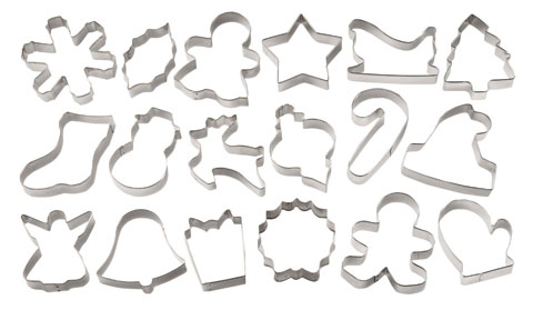18 piece christmas cookies cutters