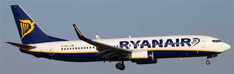 a ryanair airplane in flight