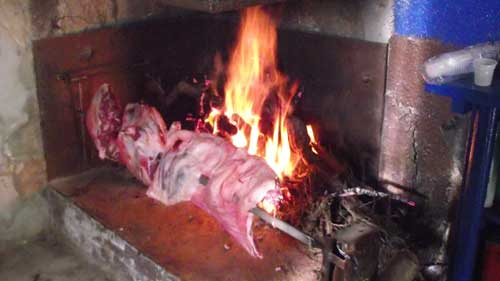 a nice spit full of meat roasting