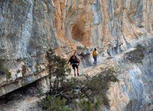 hikers on the mountain tral in ogliastra
