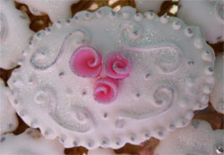 wedding cookie with piped icing decorations