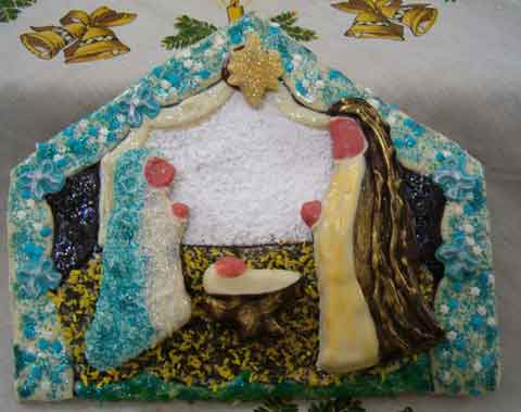 a large nativity scene cookie