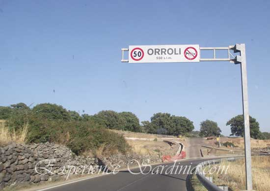 orroli road sign in sardegna italy