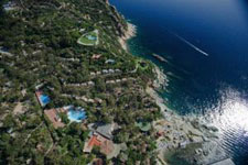 aerial view of the coastline facing the resort