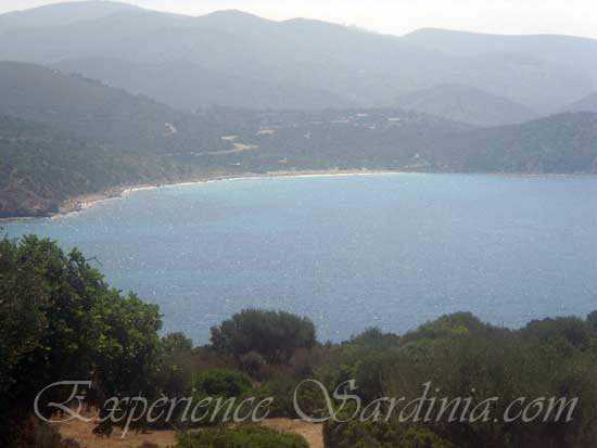 view of the Italian beach of su sirboni