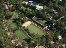 aerial view of the tennis ourts in the resort