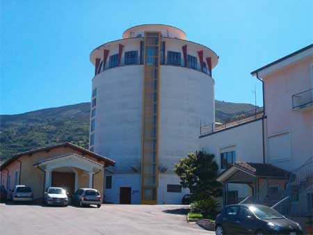 view of the large tower in the winery of jerzu ogliastra