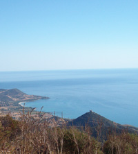 view of the tertenia coastline from the mountains