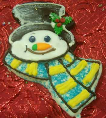 fun snowman with scarf christmas cookie
