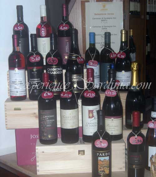 a selection of red cannonau wines