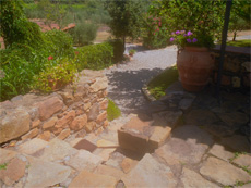 stone pathways at the villa