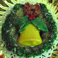 wreath cookies with chocolate molded bell