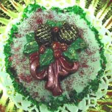 wreath cookie with chocolated molded decorations