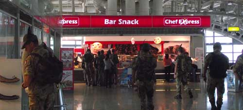 snack bar in the departure lounge at the cagliari airport