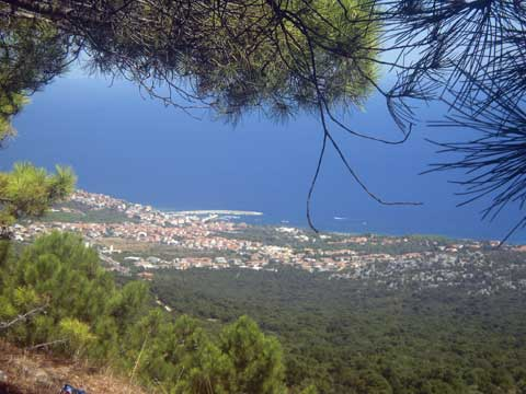 panoramic view of the village of cala gonone