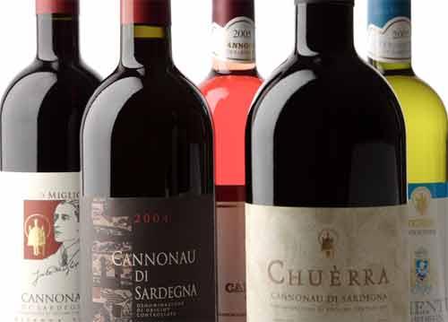 selection of bottles of cannonau wine