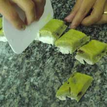 cutting cookie into diamonds