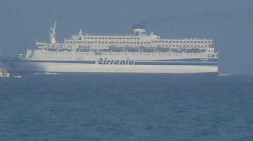 ferry leaving the port of arbatax in sardinia
