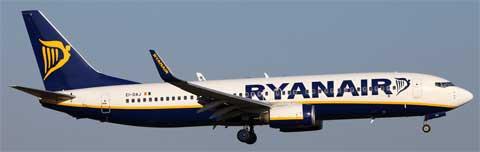 a ryanair airplane in flight
