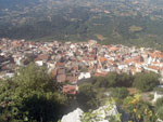 view of the village of baunei from the mountains