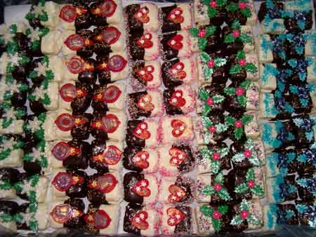 assortment of square christmas cookies