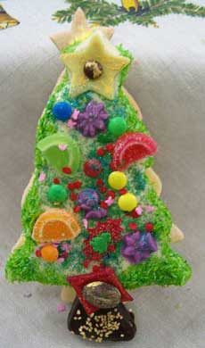 large christmas tree cookies with cocnut topping