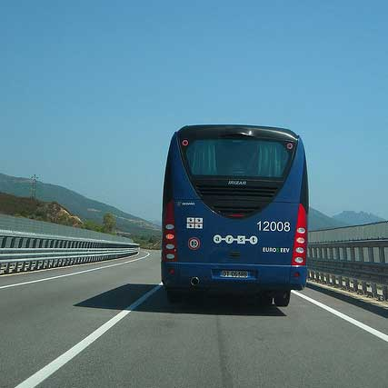 arst bus on the road in sardinia italy
