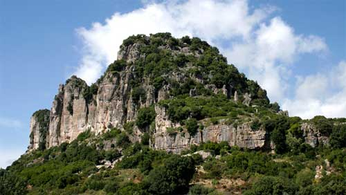 the limestone mountains above the town of jerzu in ogliastra
