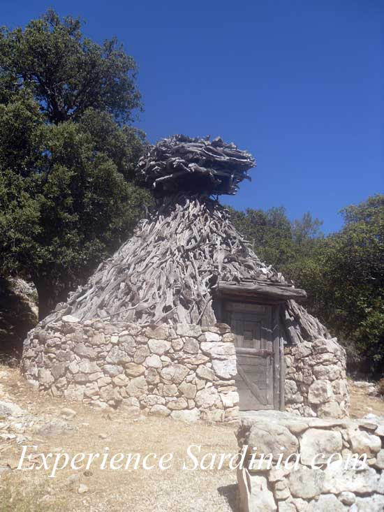a traditional shepherds hut in the mountains of sardinia italy