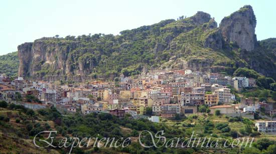 view of the mountain village of Ulassai Italy